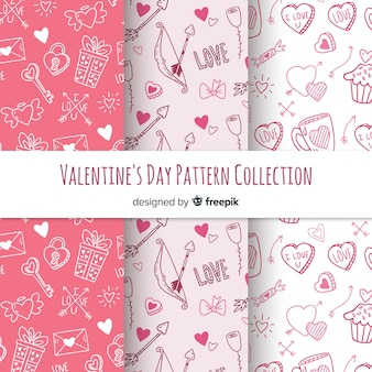 Hand drawn valentine's day pattern