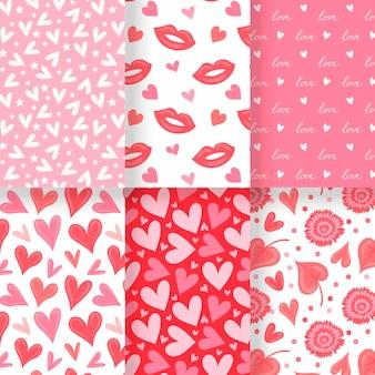 Hand drawn valentine's day patterns pack