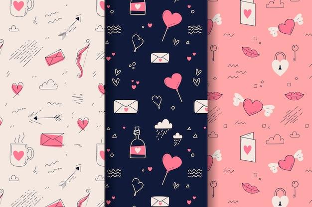 손으로 그린 발렌타인 패턴