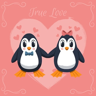 Hand drawn valentine's day penguins couple