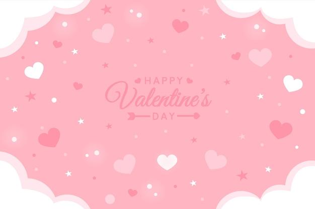 手描きのバレンタインデーのピンクの背景