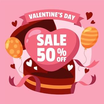 손으로 그린 발렌타인 데이 세일 50 % 할인