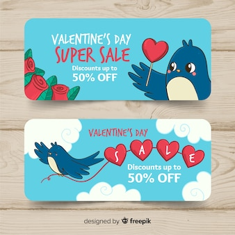 Hand drawn valentine's day sale banner