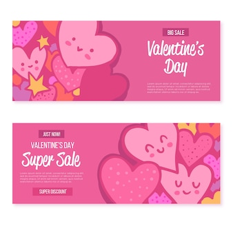 Hand drawn valentine's day sale banners pack