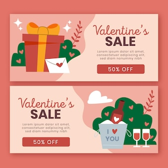 Hand drawn valentine's day sale banners template