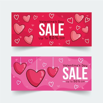 Hand drawn valentine's day sale banners