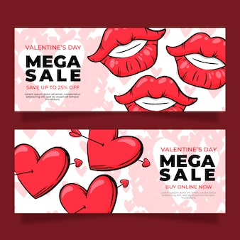 Hand drawn valentine's day sale banners
