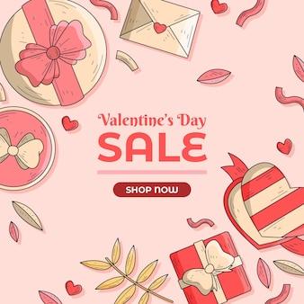 손으로 그린 삽화와 함께 발렌타인 데이 판매 프로 모션