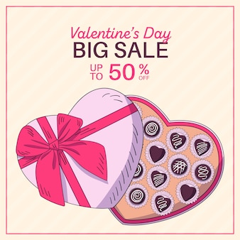 Hand drawn valentine's day sale with big chocolate box