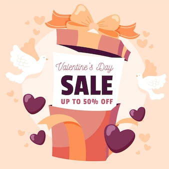 Hand drawn valentine's day sale with gift