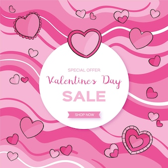 Hand drawn valentine's day sale with pink hearts