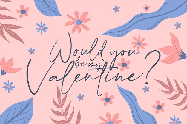 Hand drawn valentine's day wallpaper with lettering