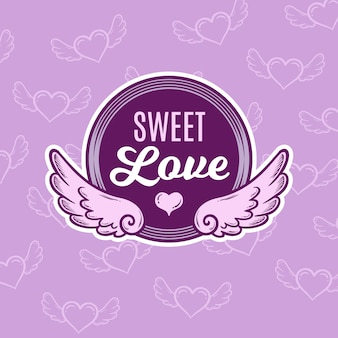 Hand drawn valentine winged badge