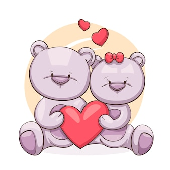 Hand drawn valentines day animal couple
