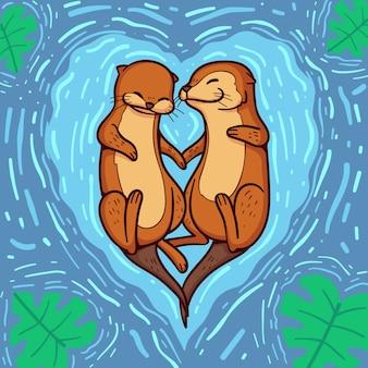 손으로 그린 발렌타인 동물 커플