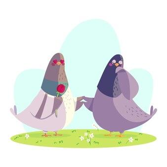手描きのバレンタインデーの動物のカップル