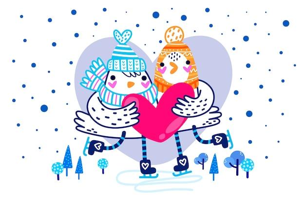 Hand-drawn valentines day background
