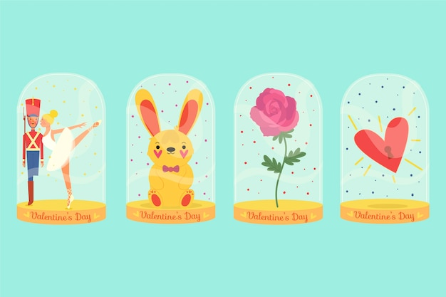 Hand-drawn valentines day badge collection