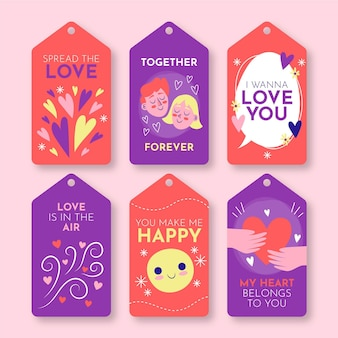 Hand drawn valentines day badge collection