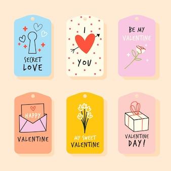 손으로 그린 발렌타인 데이 배지 컬렉션