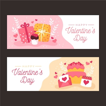 Hand drawn valentines day banners template