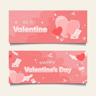 손으로 그린 발렌타인 배너 서식 파일
