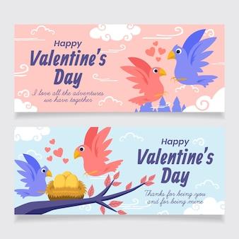 Modello di banner di san valentino disegnato a mano