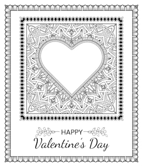 Hand drawn valentines day banners with mehndi flower. decoration in ethnic oriental, doodle ornament.