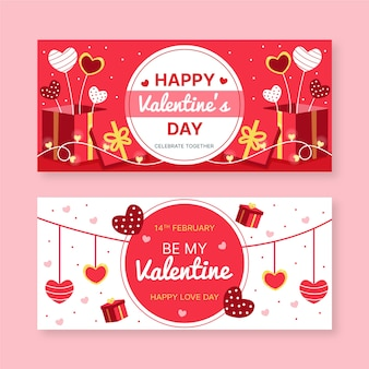Hand drawn valentines day banners