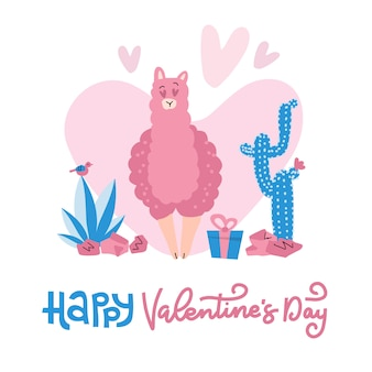 Hand drawn valentines day card with cute funny llama in love