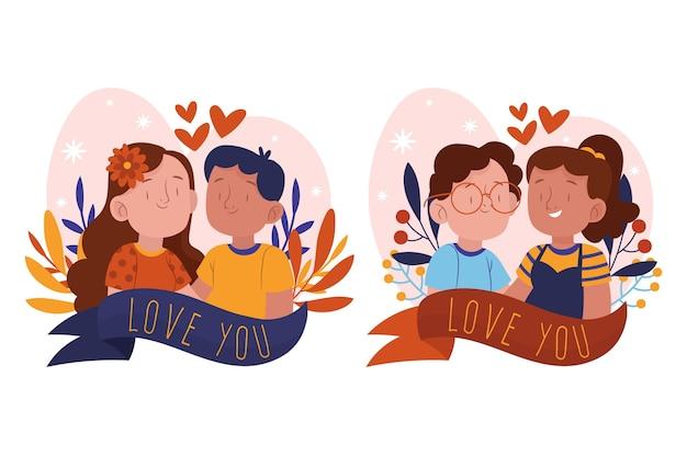 Коллекция рисованной пары дня святого валентина