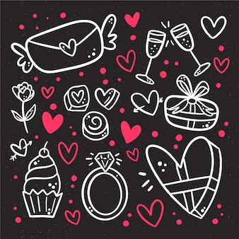 手描きのバレンタインの日の要素のコレクション