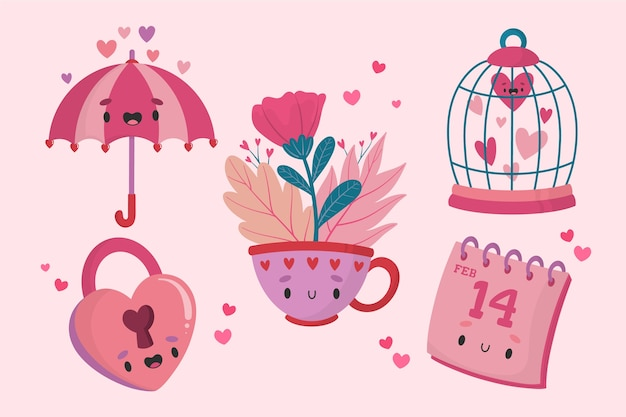 Hand drawn valentines day element collection