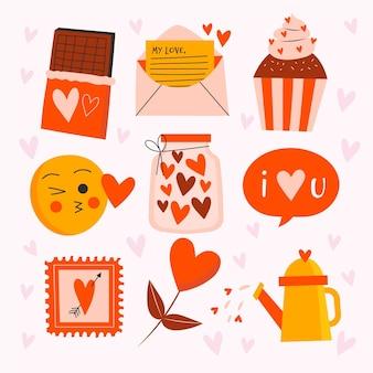 Collezione di elementi disegnati a mano di san valentino