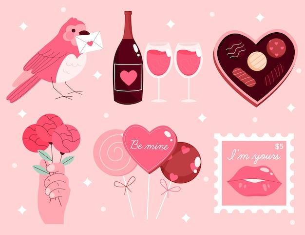 Ручной обращается коллекция элементов дня святого валентина
