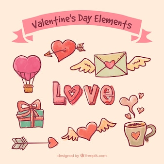 Hand drawn valentines day elements