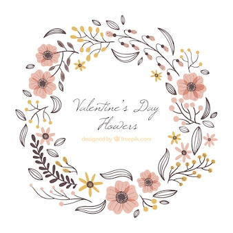 손으로 그린 발렌타인 꽃 프레임