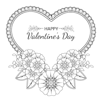一時的な刺青の花と手描きのバレンタインデーのグリーティングカード。手描きイラストの概要を説明します。