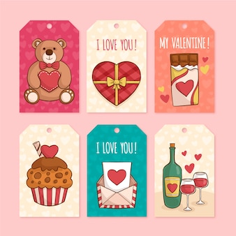 Hand drawn valentines day label collection