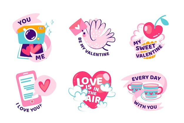 Hand-drawn valentines day label collection