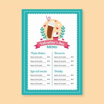 Hand drawn valentines day menu template