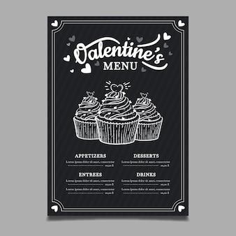 手描きのバレンタインの日メニューテンプレート