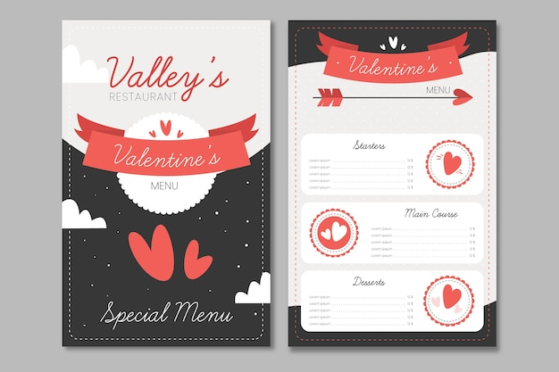 Hand drawn valentines day menu template