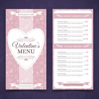 Hand-drawn valentines day menu template