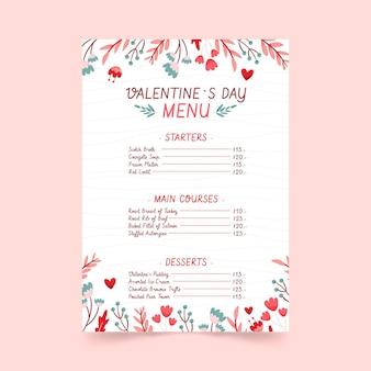 손으로 그린 발렌타인 메뉴 템플릿