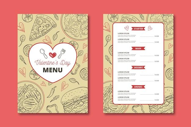 Hand-drawn valentines day menu