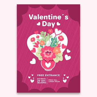 Hand-drawn valentines day party flyer template concept