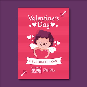 Hand-drawn valentines day party flyer template