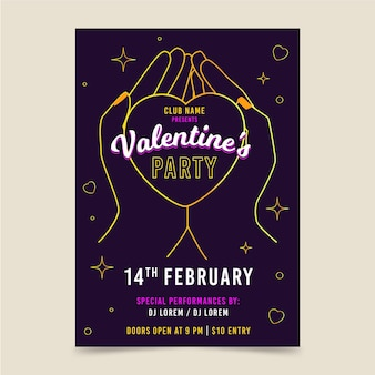 Hand drawn valentines day party poster template