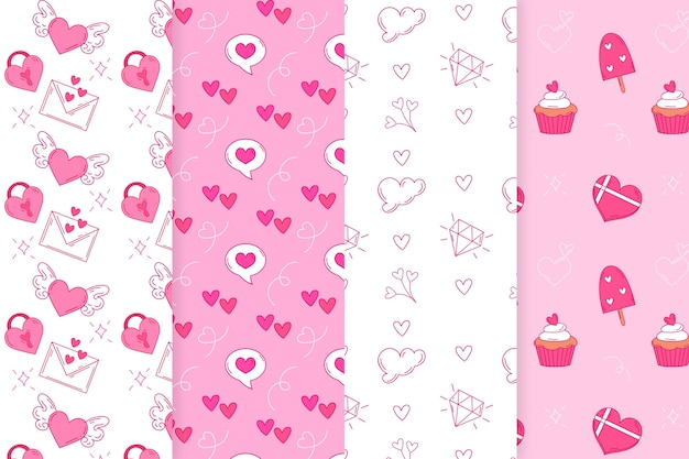Hand drawn valentines day pattern collection with envelopes and hearts